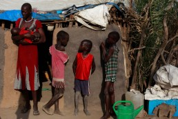 Martha Nyaphar with her four children, in South Sudan during the 2017 famine in East Africa