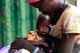 Nyabora is measured at a feeding clinic in South Sudan, during the 2017 famine in East Africa