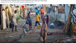 A screenshot of a BBC News article featuring one of Kate Holt's photos from South Sudan for UNICEF