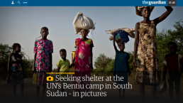 A screenshot of an article from The Guardian featuring Kate Holt's photos from South Sudan with UNICEF
